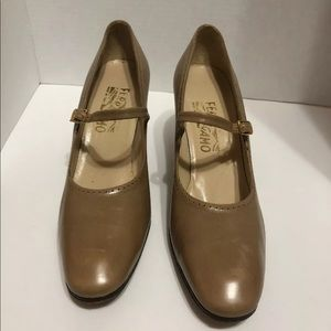 Salvatore Ferragamo Women Beige Leather Mary Jane